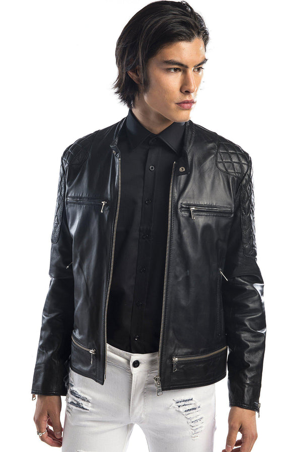7802-Quilted Zip Leather Jacket - More Colors-Jackets-Ron Tomson-BLACK-M/38-Ron Tomson