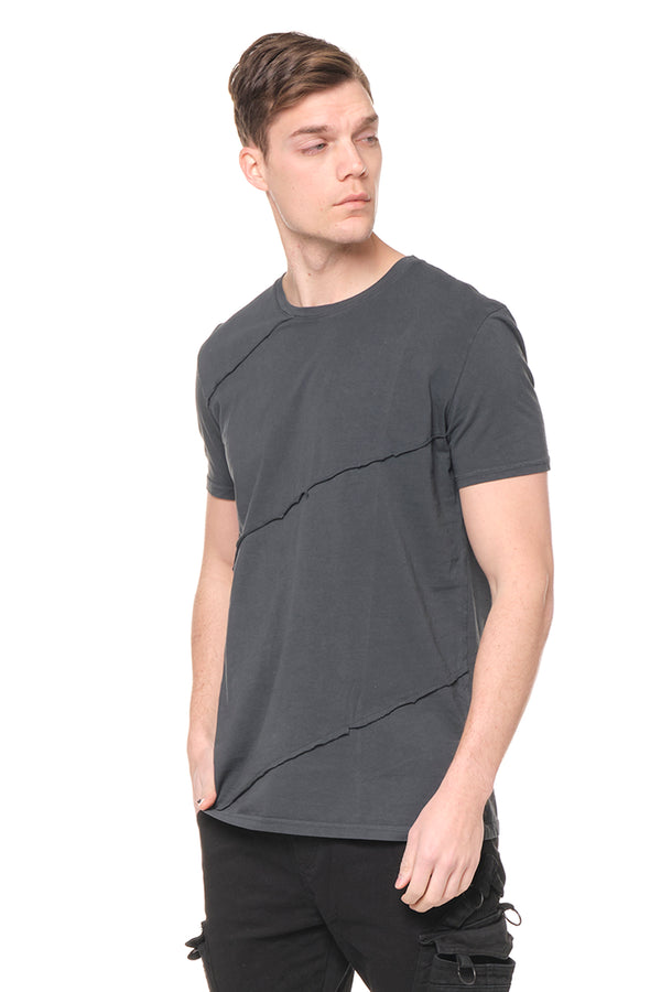 Scarred Cotton Tee - ANTHRACITE - Ron Tomson