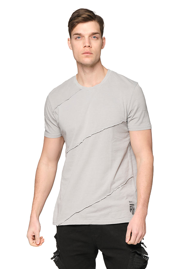 Scarred Cotton Tee - GREY - Ron Tomson