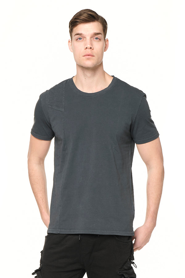 Viking Single Shoulder Quilted Tee - ANTHRACITE - Ron Tomson