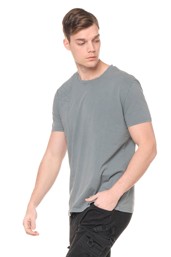 Viking Single Shoulder Quilted Tee - BLUE - Ron Tomson