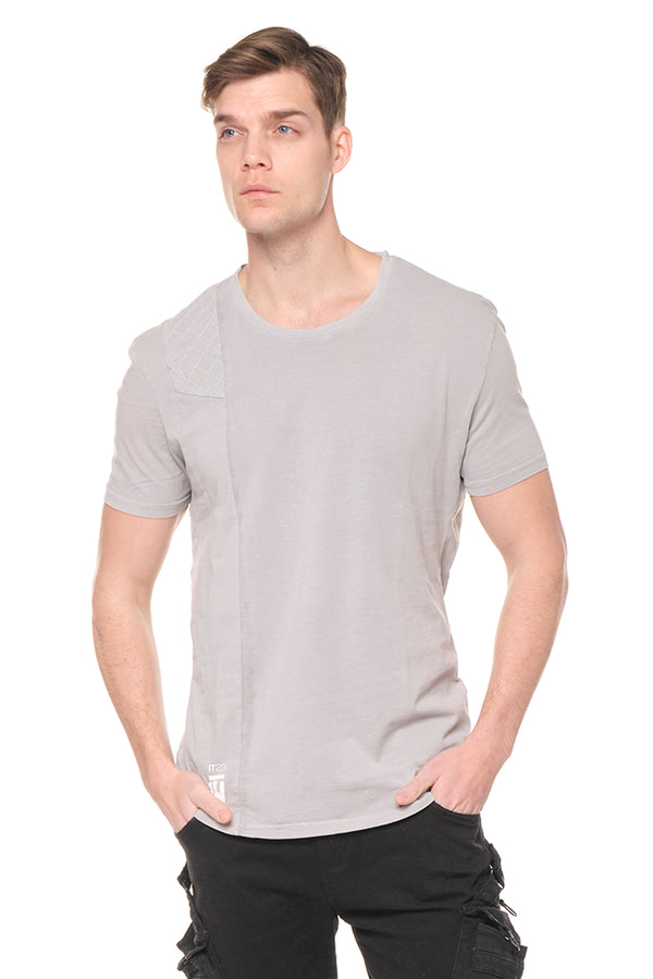 Viking Single Shoulder Quilted Tee - GREY - Ron Tomson