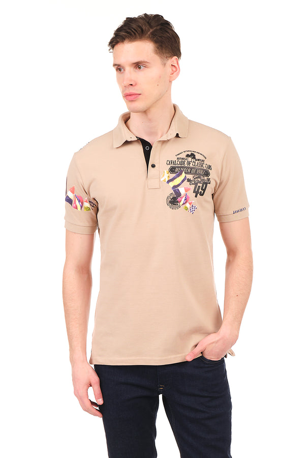 8129-STONE POLO SHIRT - Ron Tomson