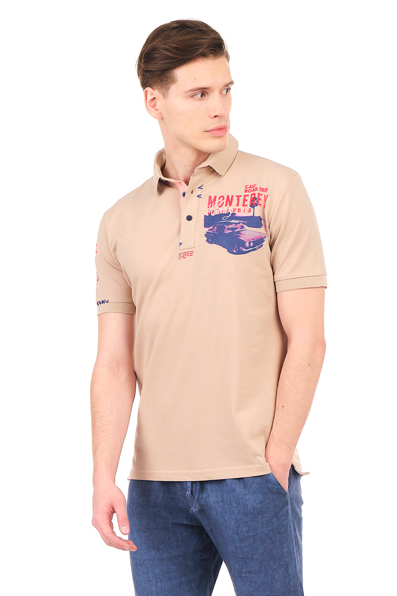 8130-STONE POLO SHIRT - Ron Tomson