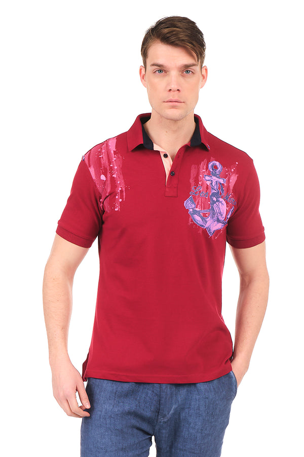 8131-BORDEAUX POLO SHIRT - Ron Tomson
