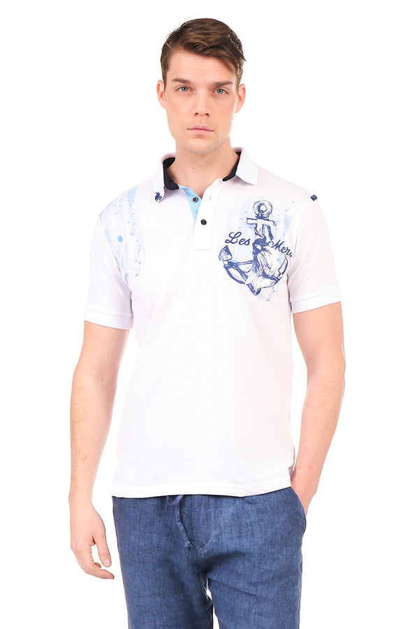 8131-WHITE POLO SHIRT - Ron Tomson