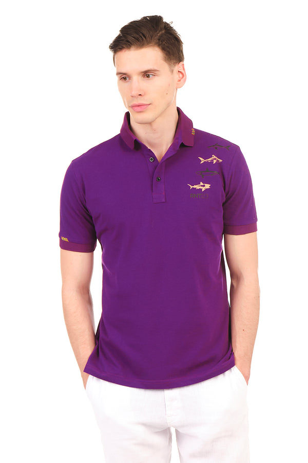 8132-PURPLE POLO SHIRT - Ron Tomson