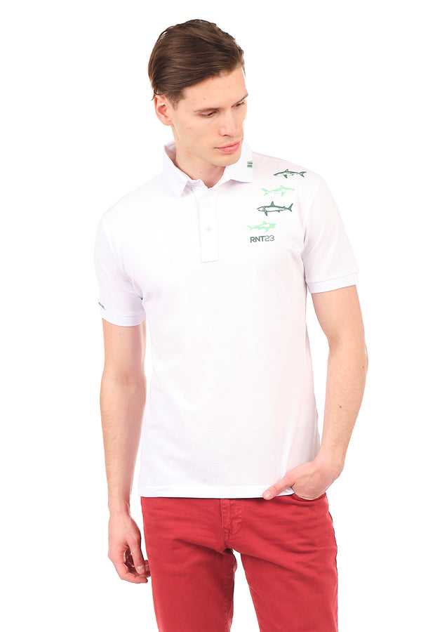 8132-WHITE POLO SHIRT - Ron Tomson