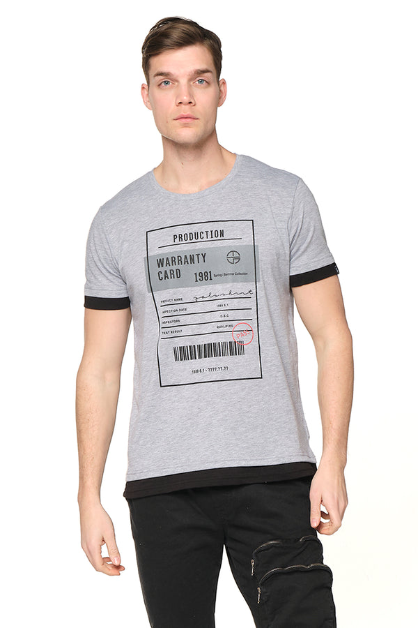 The Barcode Tee - GREY MELANGE