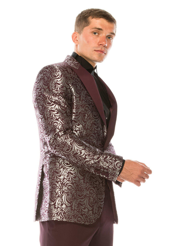 Abstract Floral Lurex Peak Lapel Tuxedo-Tuxedos-Ron Tomson-BURGUNDY-36/46-Ron Tomson