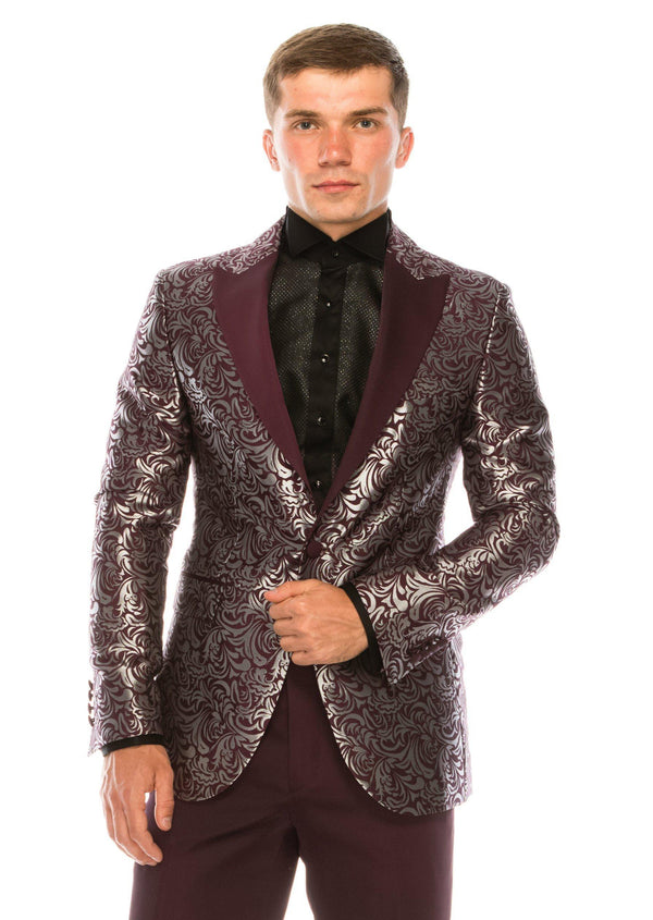 Abstract Floral Lurex Peak Lapel Tuxedo - Burgundy - Ron Tomson