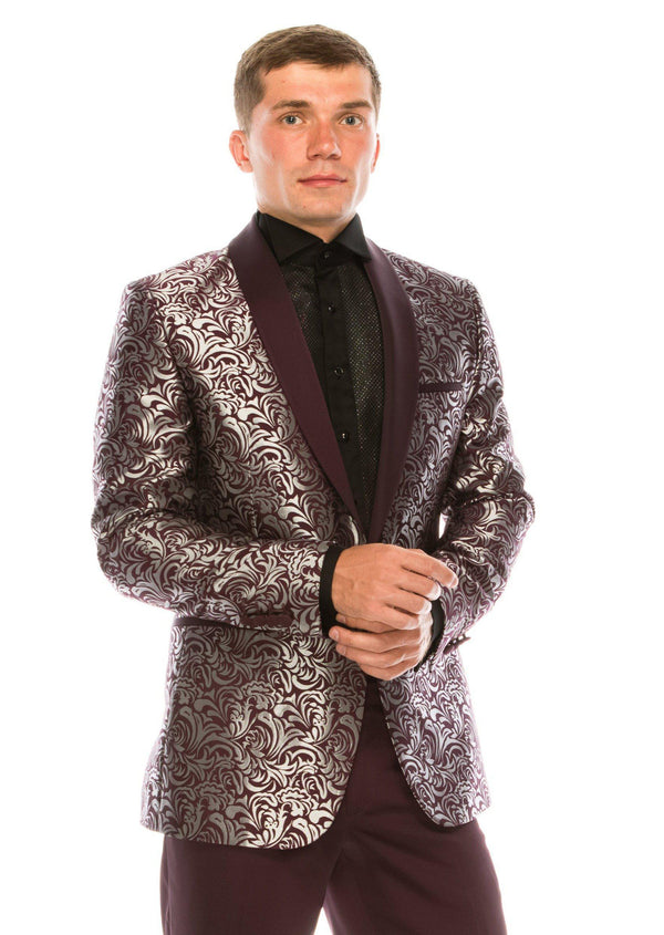 Abstract Floral Tuxedo - Burgundy - Ron Tomson