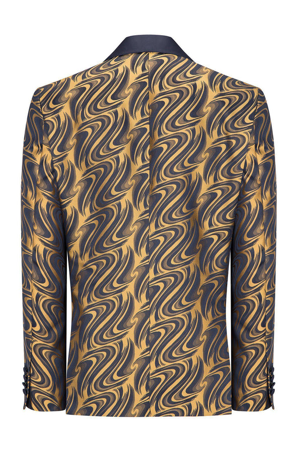 ABSTRACT SHAWL LAPEL TUXEDO - NAVY GOLD