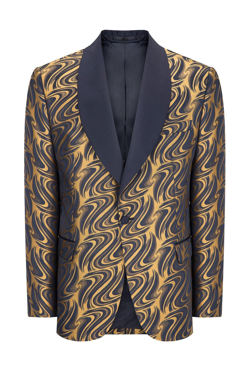 ABSTRACT SHAWL LAPEL TUXEDO - NAVY GOLD - Ron Tomson