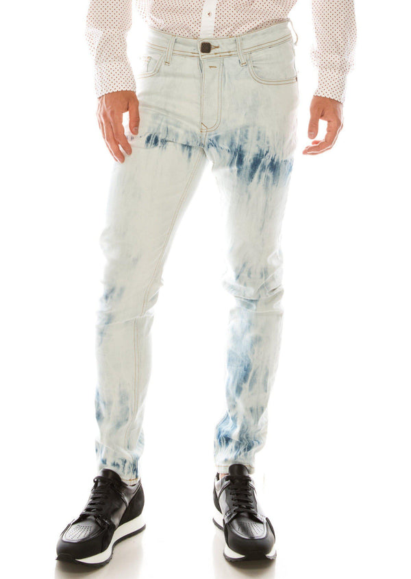 ACID INDIGO TIE DYE SLIM FIT JEANS