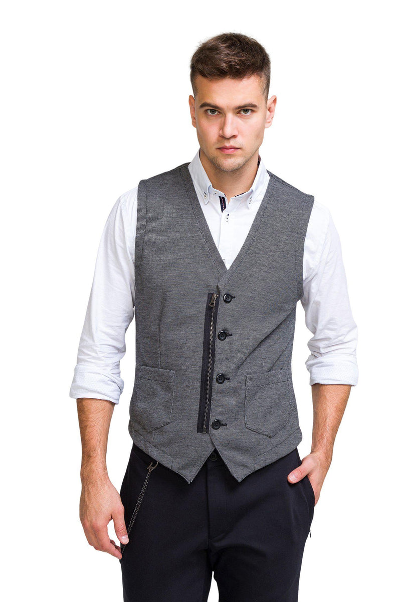 Adler Slim Fit Casual Vest - Black - Ron Tomson