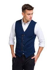 Adler Slim Fit Casual Vest - Navy - Ron Tomson