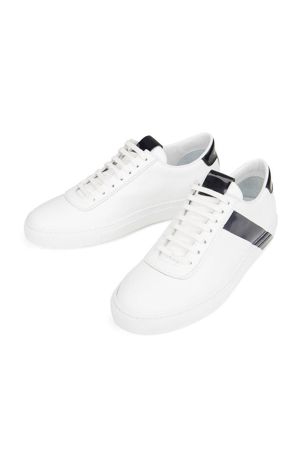 All Leather Court Sneakers  - WHITE NAVY - Ron Tomson