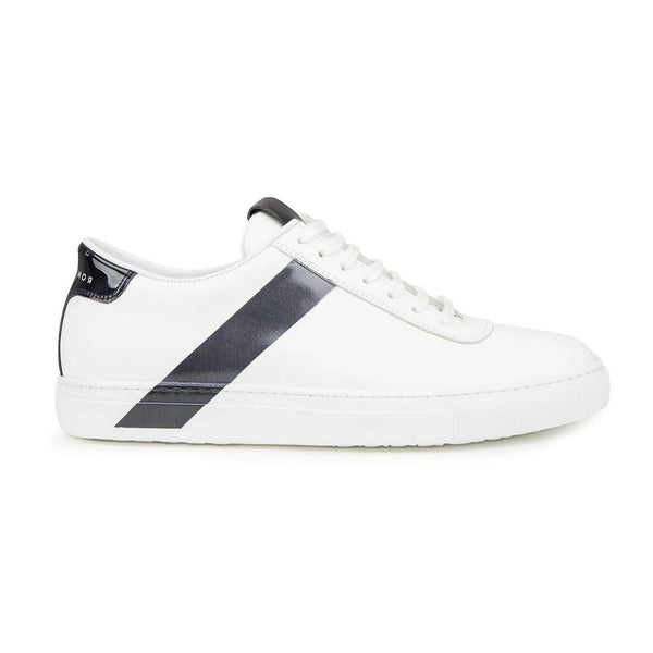 All Leather Court Sneakers  - WHITE NAVY