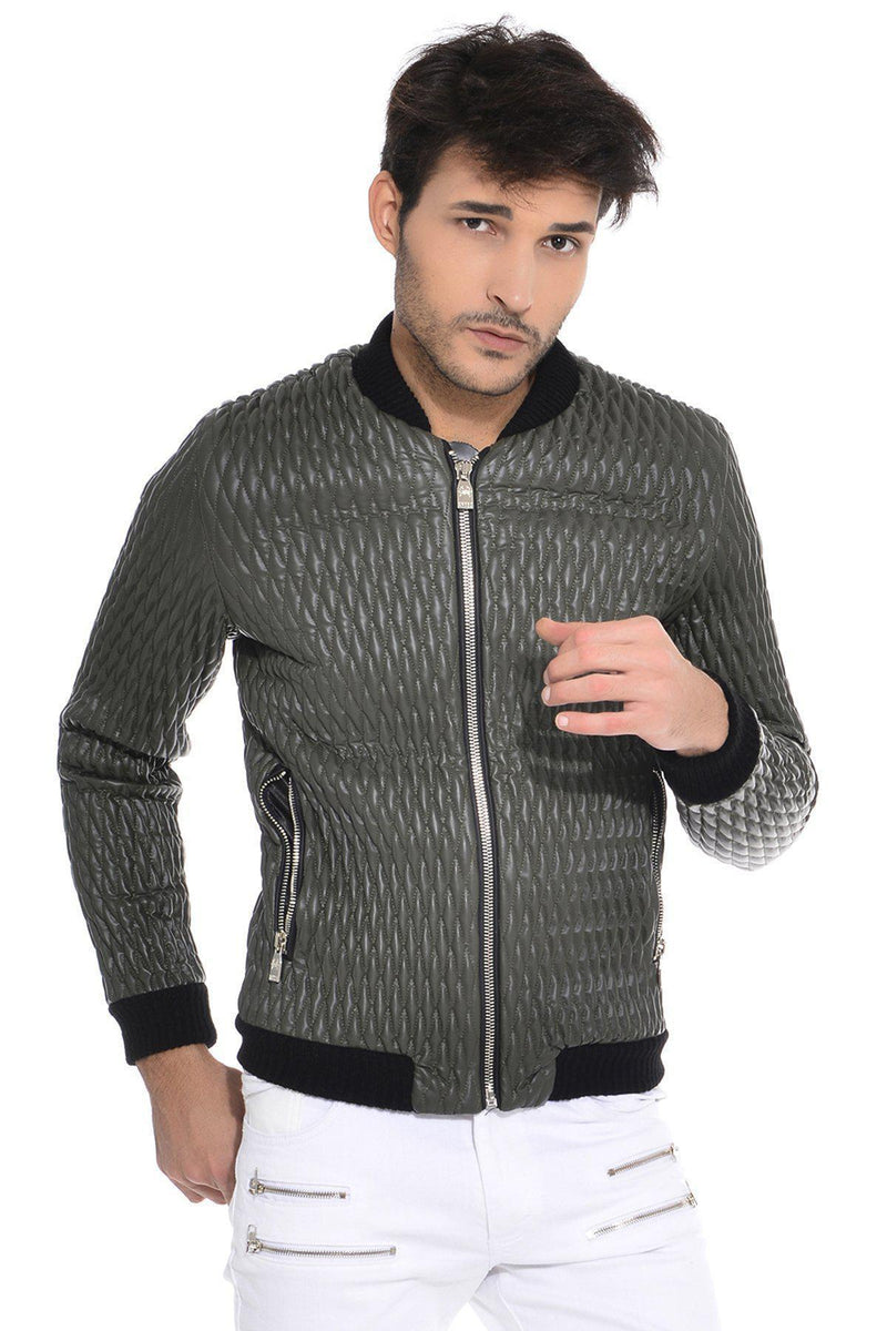 Allover diamond quilted bomber jacket-Jackets-Ron Tomson-NAVY-M-Ron Tomson