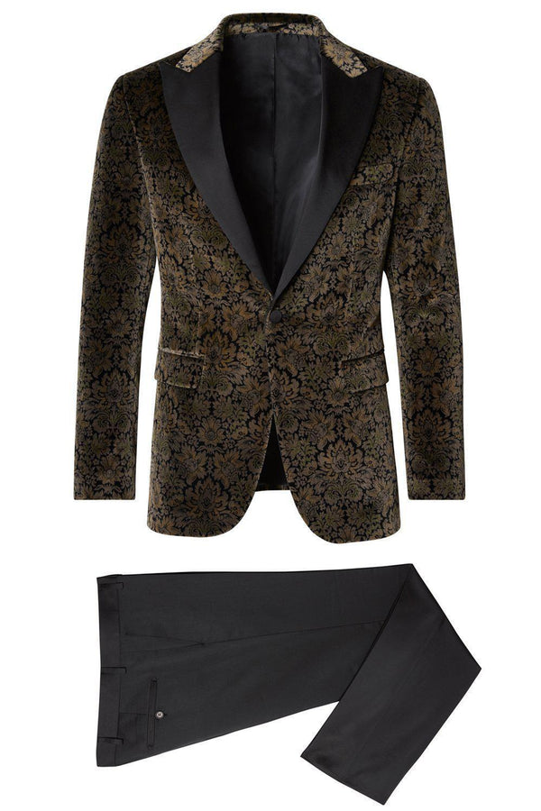 Allover Pattern Velvet Tuxedo - Green