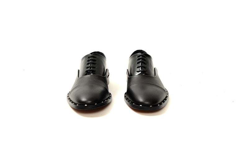 Ankara Double Leather Shoe - Black