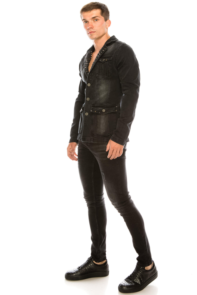 Artist Studded Denim Jacket - Black