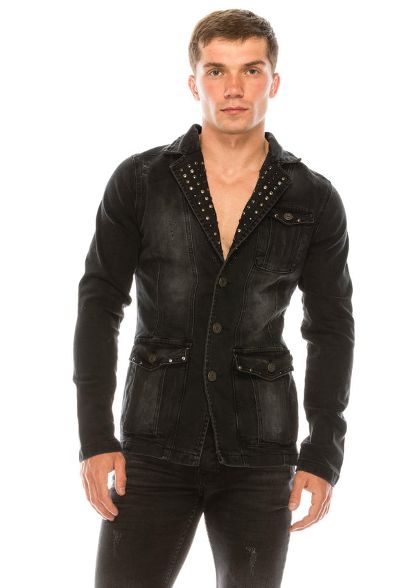 Artist Studded Denim Jacket - Black - Ron Tomson
