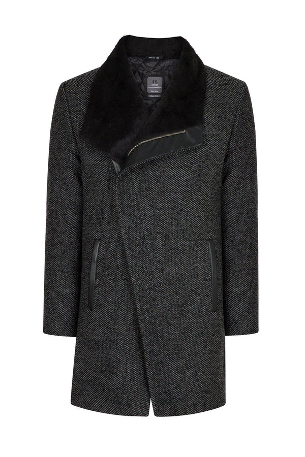 Asymmetric Contrast Collar Coat - Black - Ron Tomson