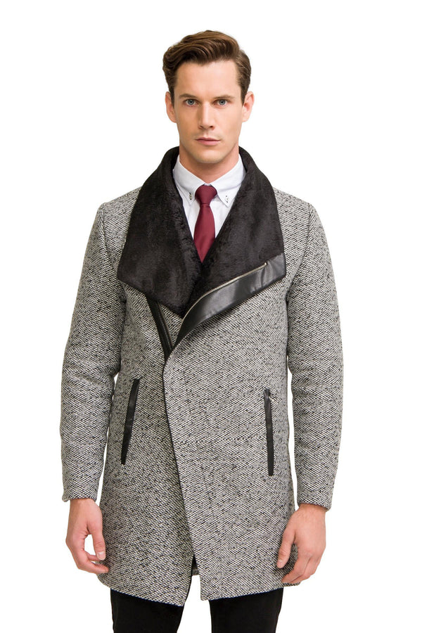 Asymmetric Contrast Collar Coat  - Grey - Ron Tomson