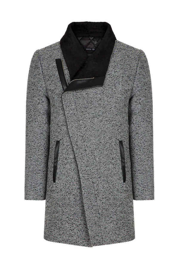 Asymmetric Contrast Collar Coat  - Grey
