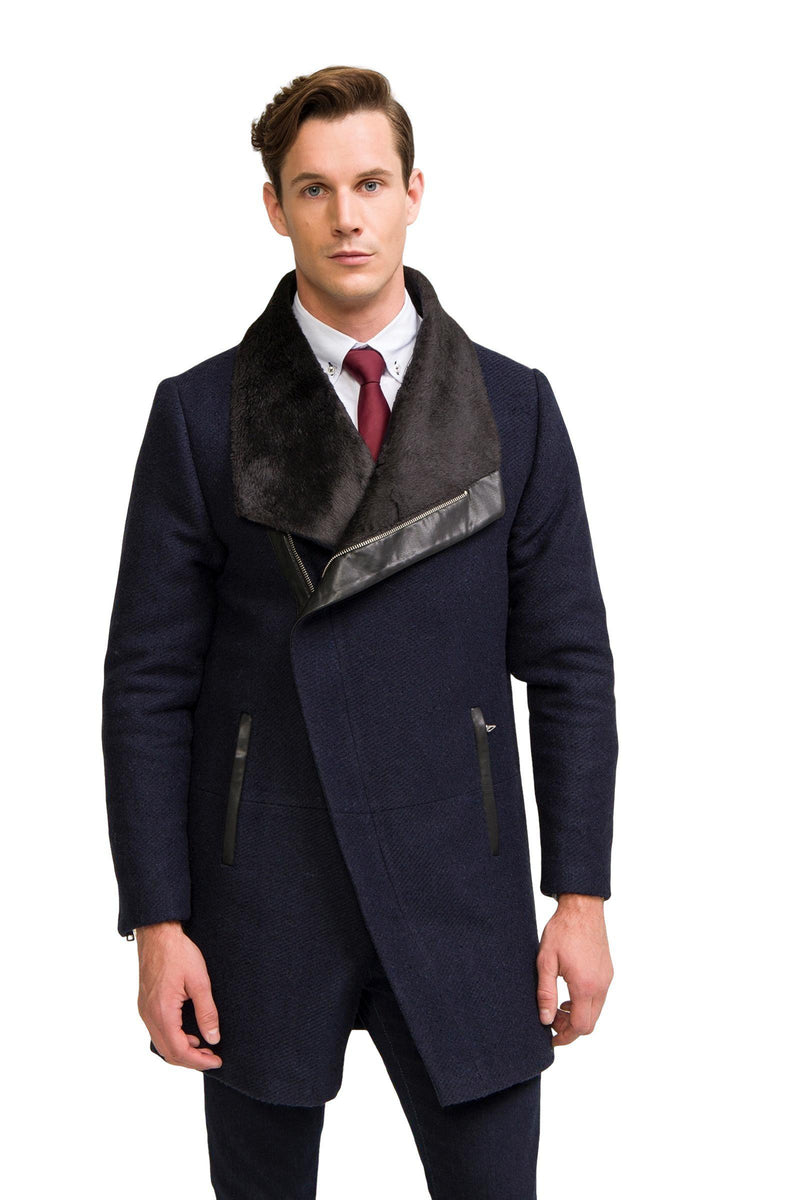 Asymmetric Contrast Collar Coat  - NAVY - Ron Tomson
