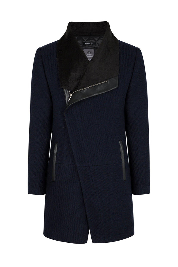 Asymmetric Contrast Collar Coat  - NAVY