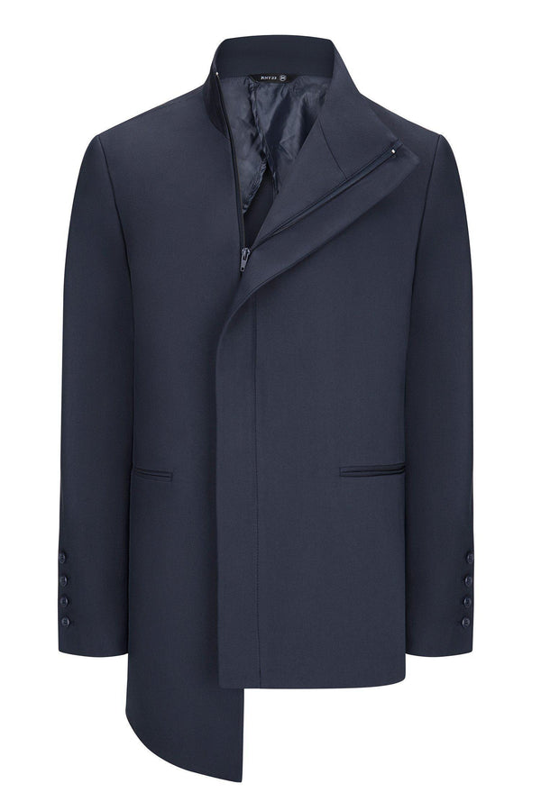 Asymmetric Jacket - Navy - Ron Tomson