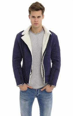 Asymmetric Zipper Faux Shearling Jacket-Outerwear-Ron Tomson-NAVY-M-Ron Tomson
