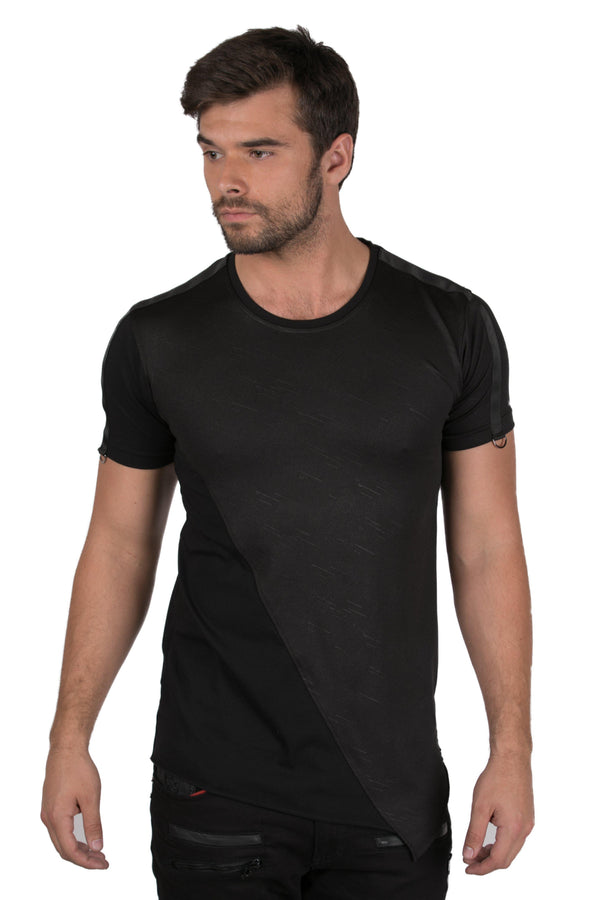 Asymmetrical Layered T-shirt-T-shirts-Ron Tomson-BLACK-S-Ron Tomson
