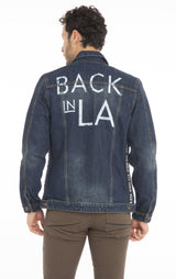 Back In La Printed Denim Jacket - Navy - Ron Tomson