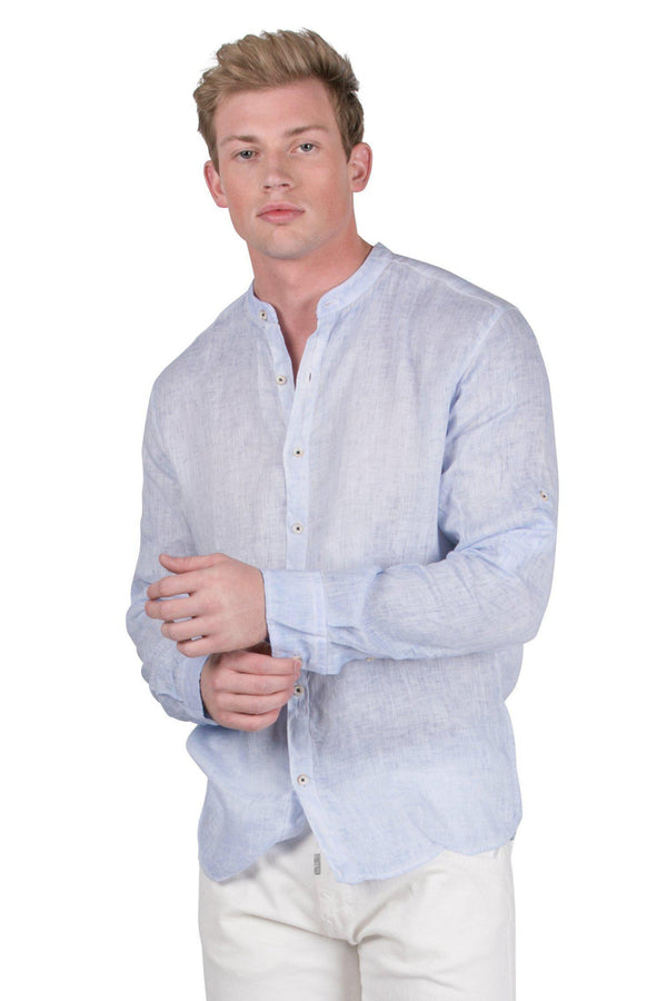 Band Collar button Down Linen Shirt-Casual Shirts-RON TOMSON-BLUE-S-Ron Tomson
