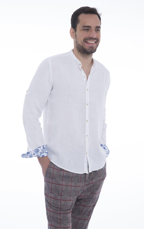 Band Collar Button Down Linen Shirt - White