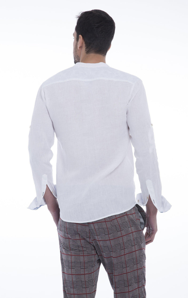 Band Collar Button Down Linen Shirt - White - Ron Tomson