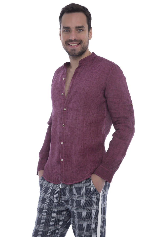 Band Collar Button Down Linen Shirt - Wine