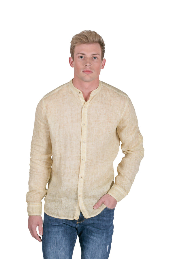 Band Collar button Down Linen Shirt-Casual Shirts-RON TOMSON-YELLOW-S-Ron Tomson