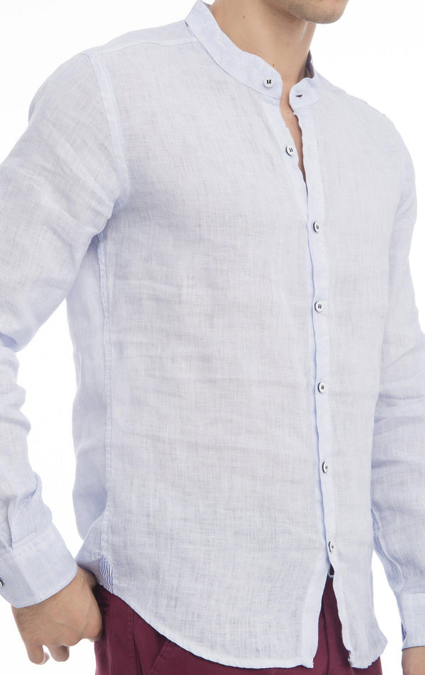 Band Collar Button Up Linen Shirt - Light Blue
