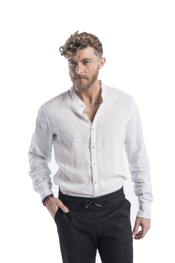 Band Collar Button Up Linen Shirt-Casual Shirts-Ron Tomson-WHITE-S-Ron Tomson