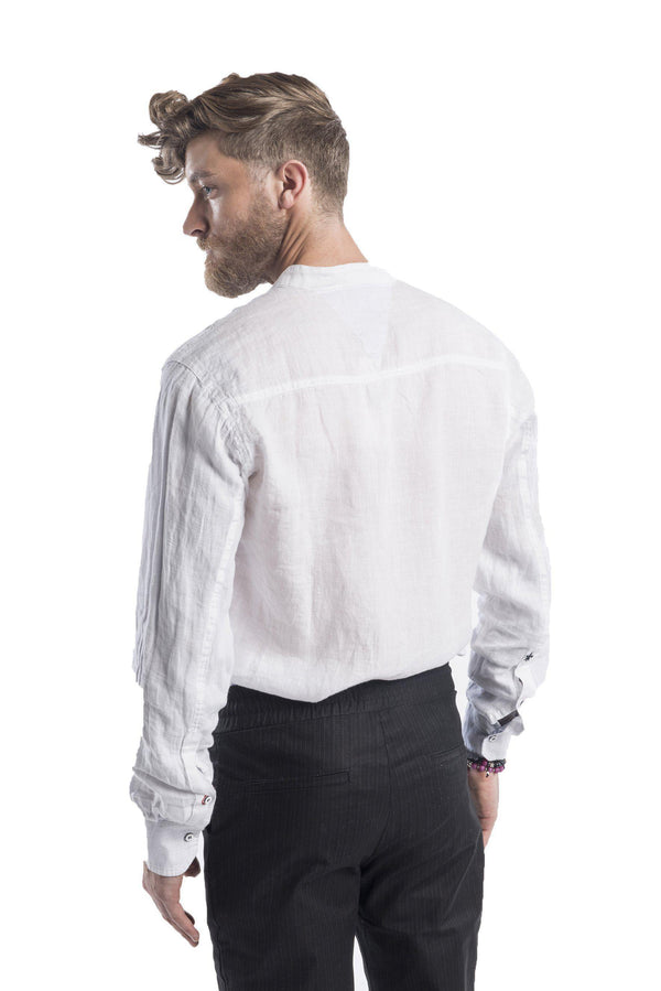 Band Collar Button Up Linen Shirt - White - Ron Tomson