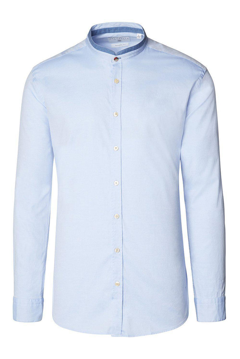 Band Collar Slim Fit Shirt-Shirts-Ron Tomson-BLUE-S-Ron Tomson