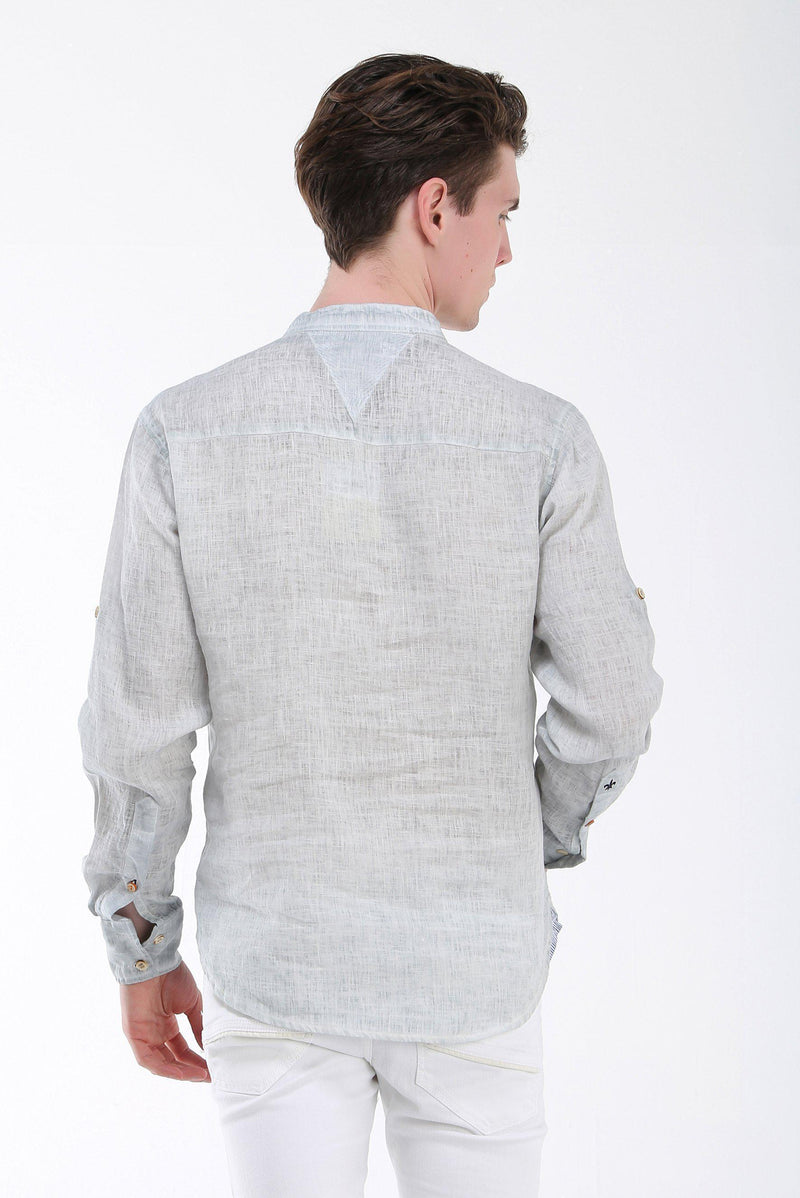 Band Collar Henley Linen Shirt - More Colors-Casual Shirts-Ron Tomson-STONE-S-Ron Tomson