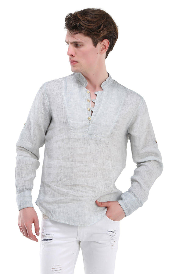 Band Collar Henley Linen Shirt - More Colors-Casual Shirts-Ron Tomson-LIGHT GREEN-M-Ron Tomson