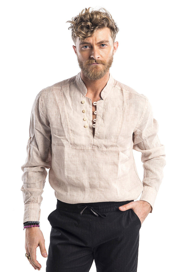 Band Collar Henley Linen Shirt - More Colors-Casual Shirts-Ron Tomson-STONE-M-Ron Tomson