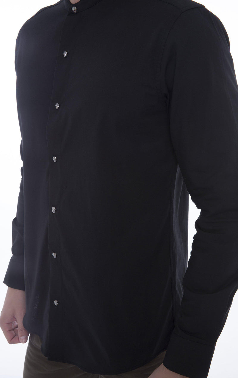 BAND COLLAR STUDDED SHIRT - Ron Tomson